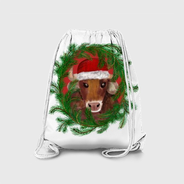 Рюкзак «Новогодний бык Вася в красной шапочке с еловым венком»
