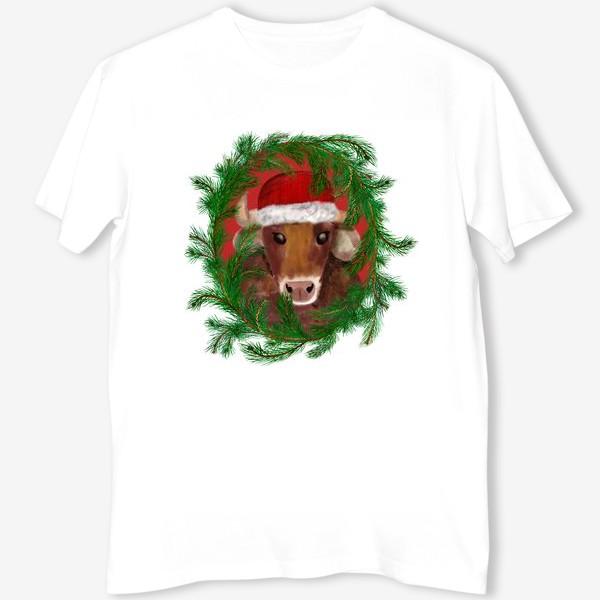 Футболка «Новогодний бык Вася в красной шапочке с еловым венком»