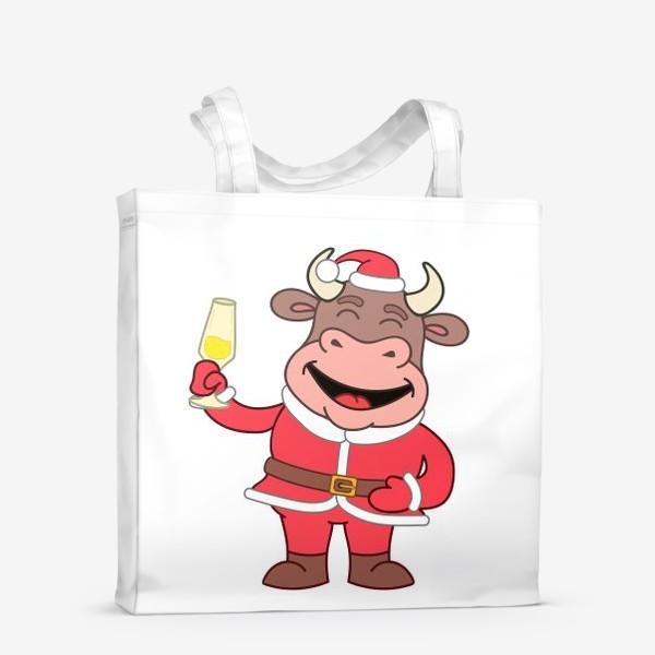 Сумка-шоппер «милый мультяшный бычок в новогоднем костюме с бокалом шампанского»