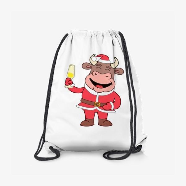 Рюкзак «милый мультяшный бычок в новогоднем костюме с бокалом шампанского»