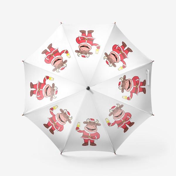 Зонт «милый мультяшный бычок в новогоднем костюме с бокалом шампанского»