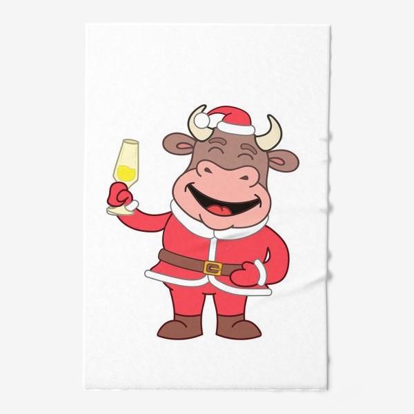 Полотенце «милый мультяшный бычок в новогоднем костюме с бокалом шампанского»