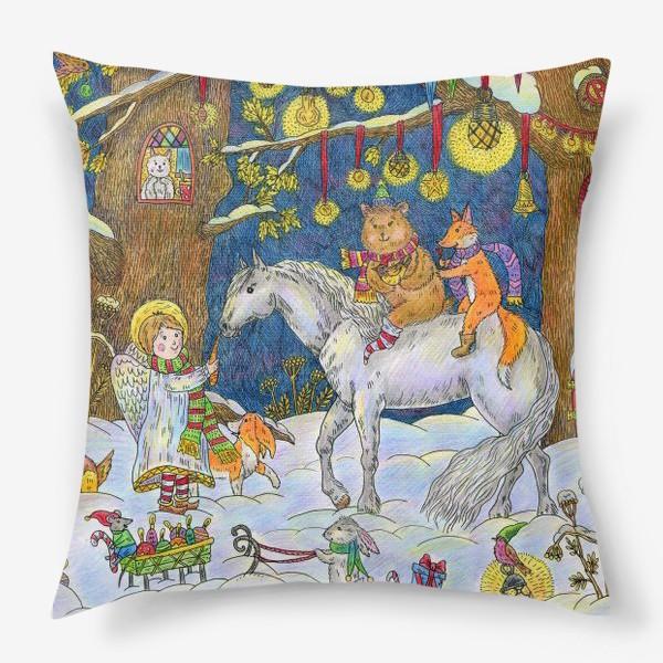 Подушка «Рождество в сказочном лесу»