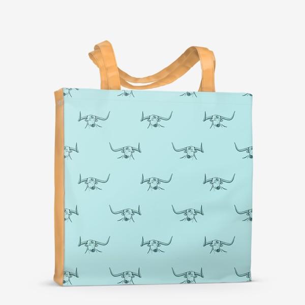 Сумка-шоппер «Бык с рогами на голубом фоне»