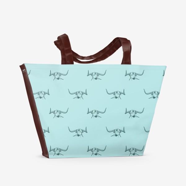 Пляжная сумка «Бык с рогами на голубом фоне»