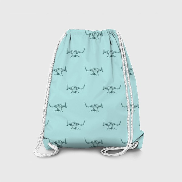 Рюкзак «Бык с рогами на голубом фоне»
