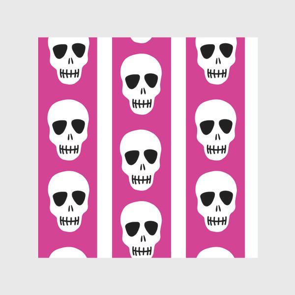 Скатерть «Белые черепки на розово-белом полосатом фоне. Гламурная готика»