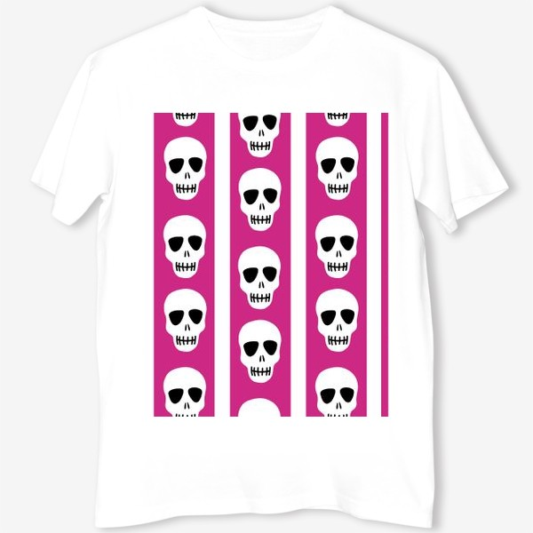 Футболка «Белые черепки на розово-белом полосатом фоне. Гламурная готика»
