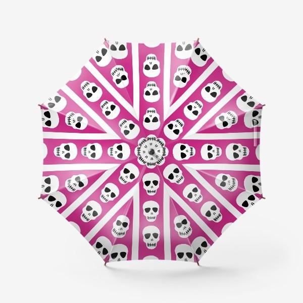 Зонт «Белые черепки на розово-белом полосатом фоне. Гламурная готика»