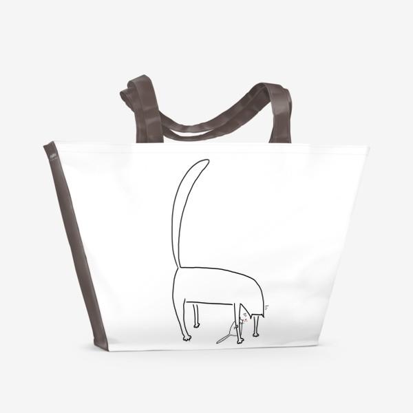 Пляжная сумка «Котик за лапкой мамы. День матери. Для мамы »