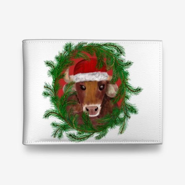 Кошелек «Новогодний бык Вася в красной шапочке с еловым венком»