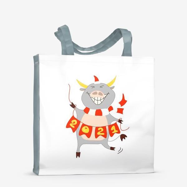 Сумка-шоппер «Символ Нового 2021 года Бык с гирляндой из флажков с цифрами»