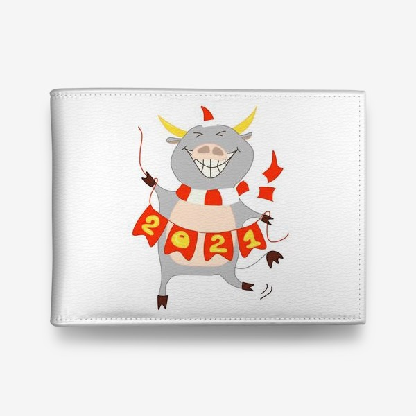 Кошелек «Символ Нового 2021 года Бык с гирляндой из флажков с цифрами»
