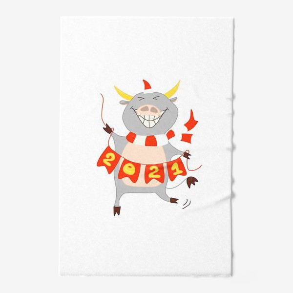 Полотенце «Символ Нового 2021 года Бык с гирляндой из флажков с цифрами»