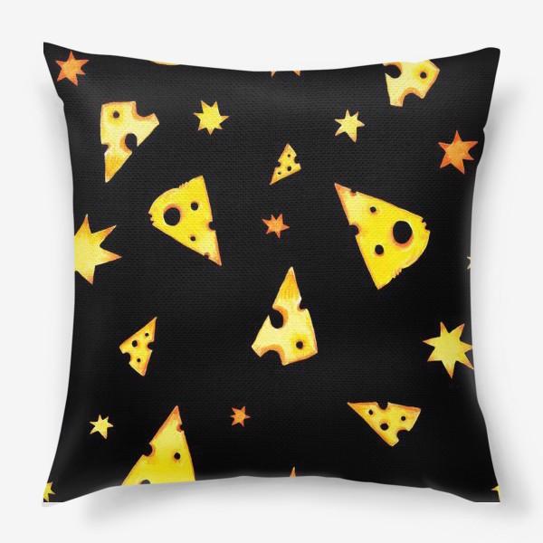 Подушка «Звездный сыр (черный)»
