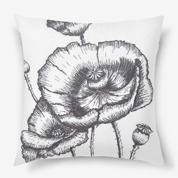 Подушка «Маки (черно-белая графика)»