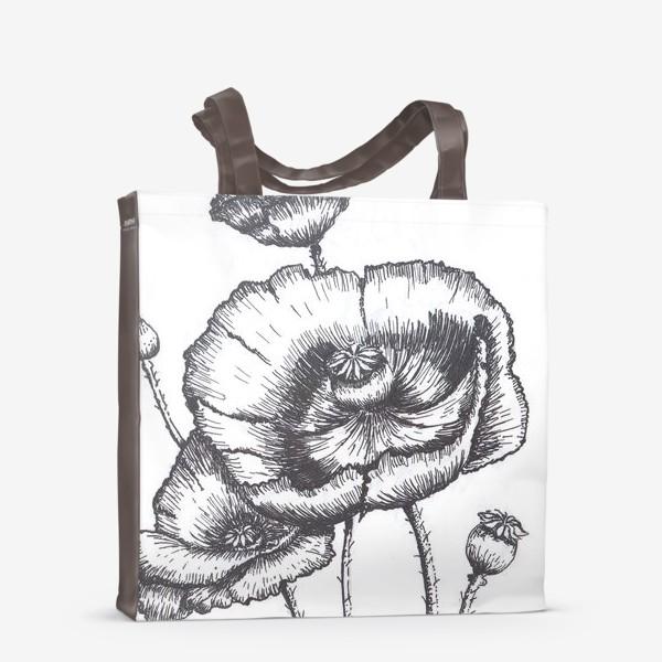 Сумка-шоппер «Маки (черно-белая графика)»