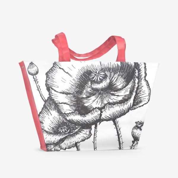 Пляжная сумка «Маки (черно-белая графика)»