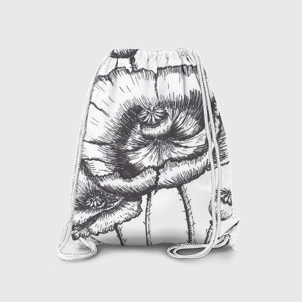 Рюкзак «Маки (черно-белая графика)»