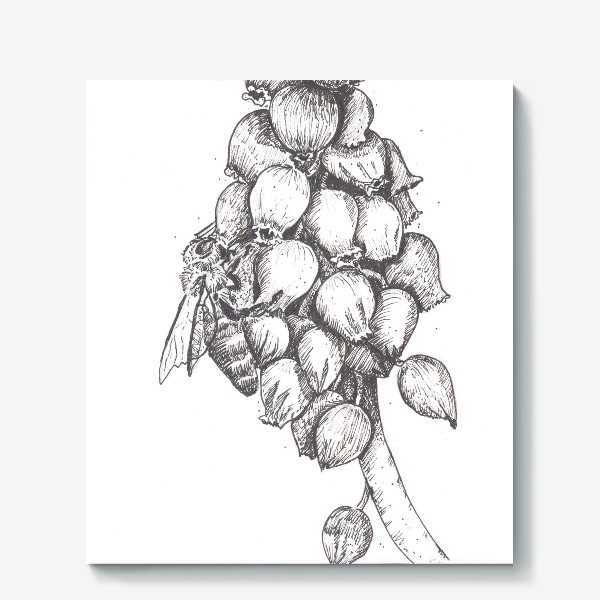 Холст «Мускари и пчела»