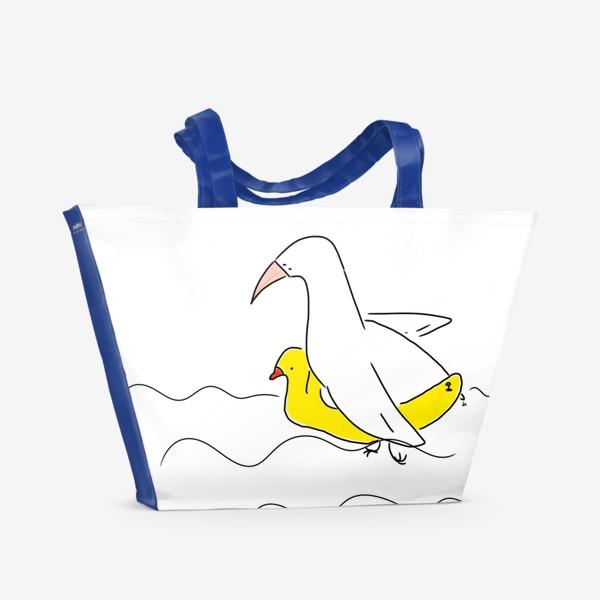 Пляжная сумка «Птица в спасательном круге »