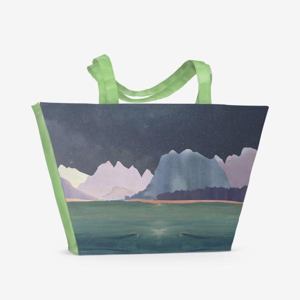 Пляжная сумка «Звездное небо с луной над горами и океаном »