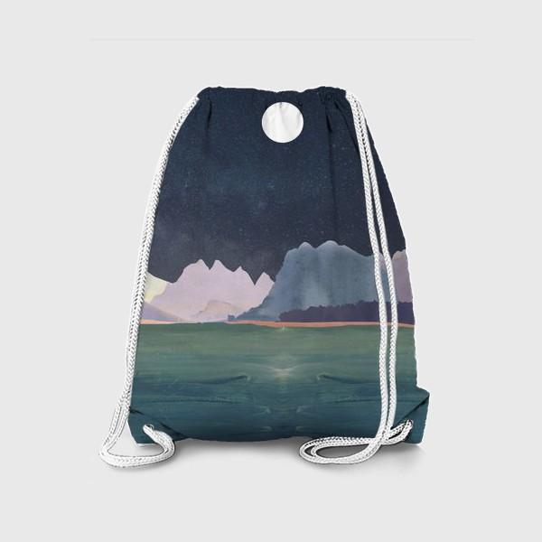 Рюкзак «Звездное небо с луной над горами и океаном »