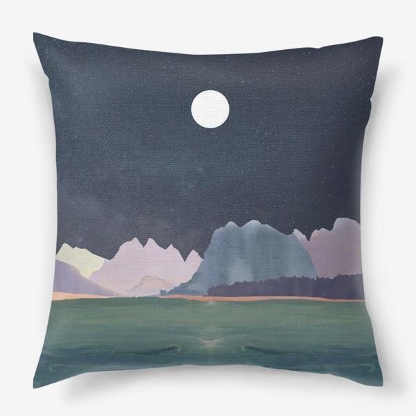 Подушка «Звездное небо с луной над горами и океаном »