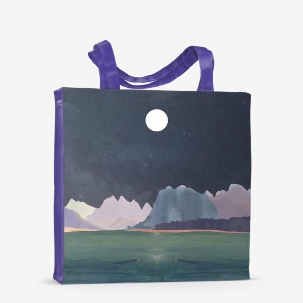 Сумка-шоппер «Звездное небо с луной над горами и океаном »