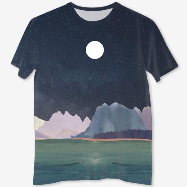 Футболка с полной запечаткой «Звездное небо с луной над горами и океаном »