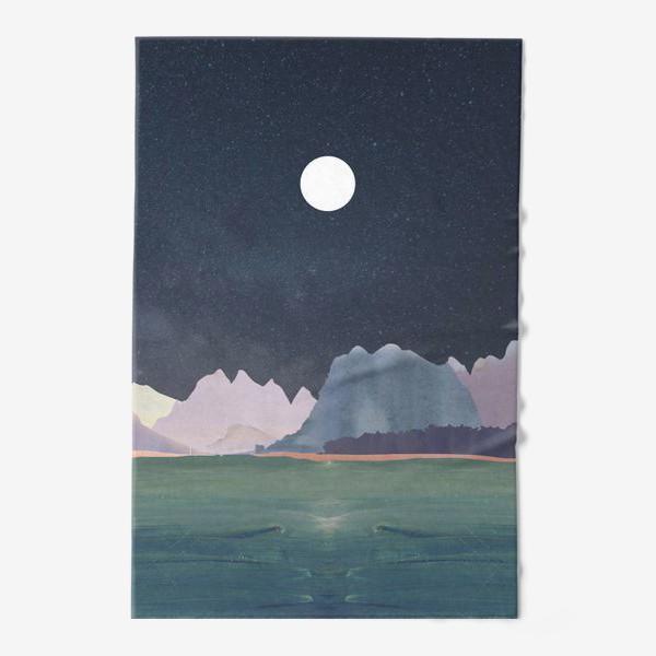 Полотенце «Звездное небо с луной над горами и океаном »