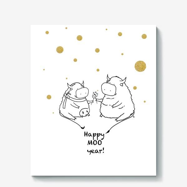 Холст «Happy MOO year! Бычки празднуют Новый год. 2021»