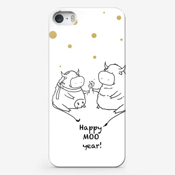 Чехол iPhone «Happy MOO year! Бычки празднуют Новый год. 2021»