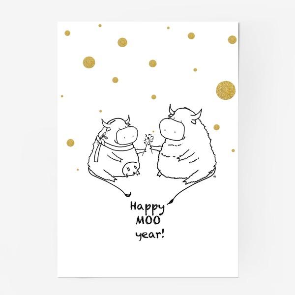 Постер «Happy MOO year! Бычки празднуют Новый год. 2021»