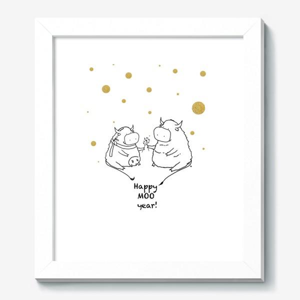 Картина «Happy MOO year! Бычки празднуют Новый год. 2021»