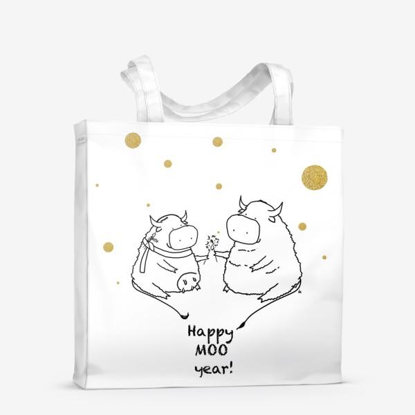Сумка-шоппер «Happy MOO year! Бычки празднуют Новый год. 2021»