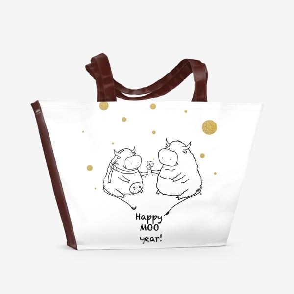 Пляжная сумка «Happy MOO year! Бычки празднуют Новый год. 2021»