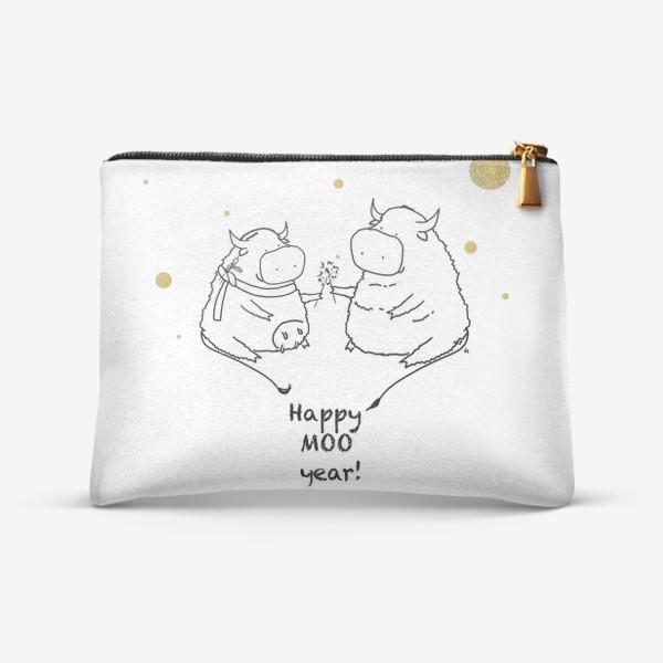 Косметичка «Happy MOO year! Бычки празднуют Новый год. 2021»