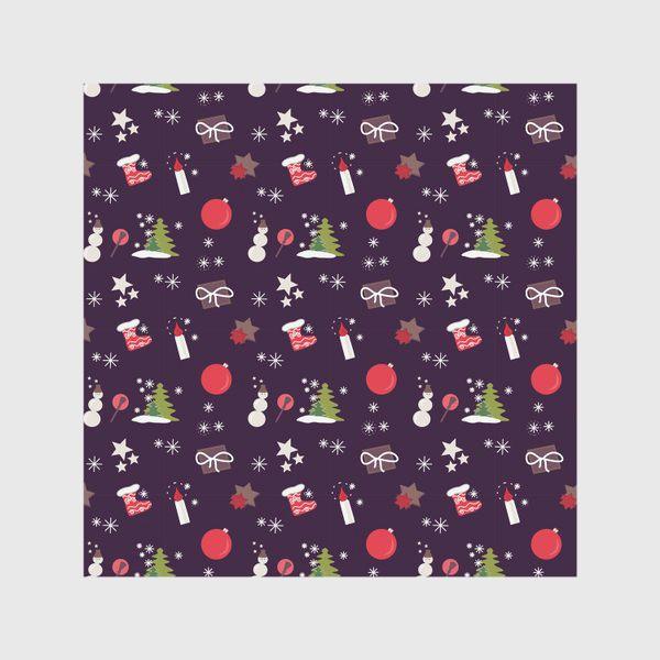 Скатерть «Снеговик, елки, шарики, подарки,свечи, звезды, снежинки»