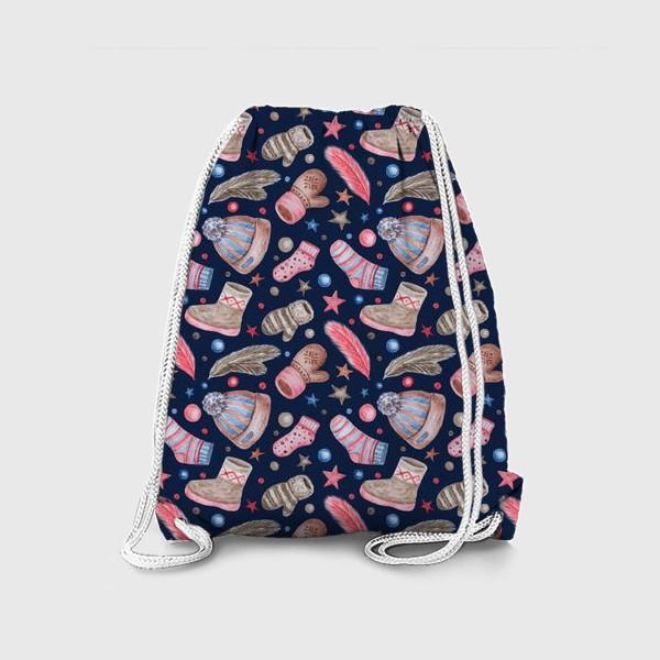 Рюкзак «Акварельный паттерн с элементами зимней одежды»