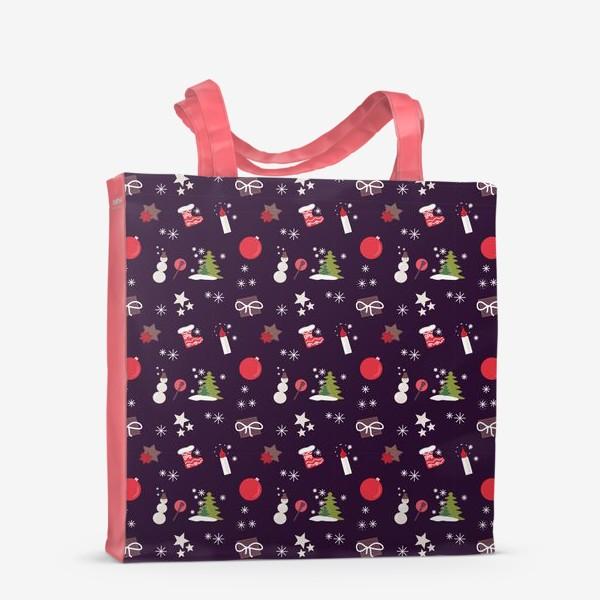 Сумка-шоппер «Снеговик, елки, шарики, подарки,свечи, звезды, снежинки»
