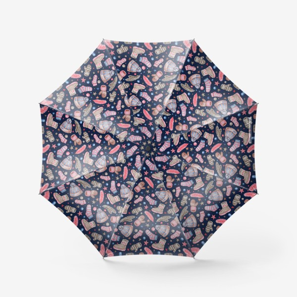 Зонт «Акварельный паттерн с элементами зимней одежды»