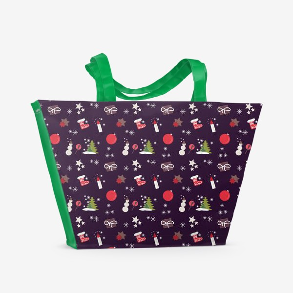 Пляжная сумка «Снеговик, елки, шарики, подарки,свечи, звезды, снежинки»