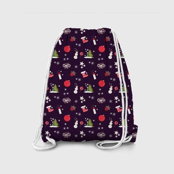 Рюкзак «Снеговик, елки, шарики, подарки,свечи, звезды, снежинки»