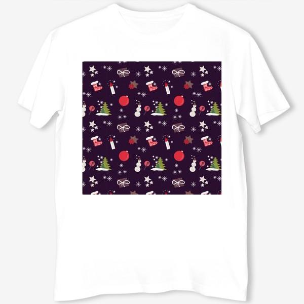 Футболка «Снеговик, елки, шарики, подарки,свечи, звезды, снежинки»