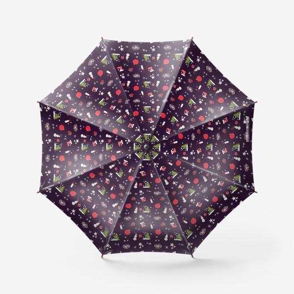 Зонт «Снеговик, елки, шарики, подарки,свечи, звезды, снежинки»