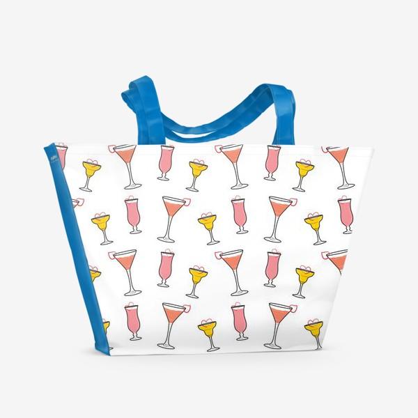 Пляжная сумка «Коктейль в бокале и сердечко »