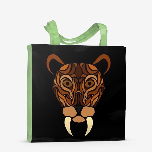 Сумка-шоппер «Саблезубый на черном»