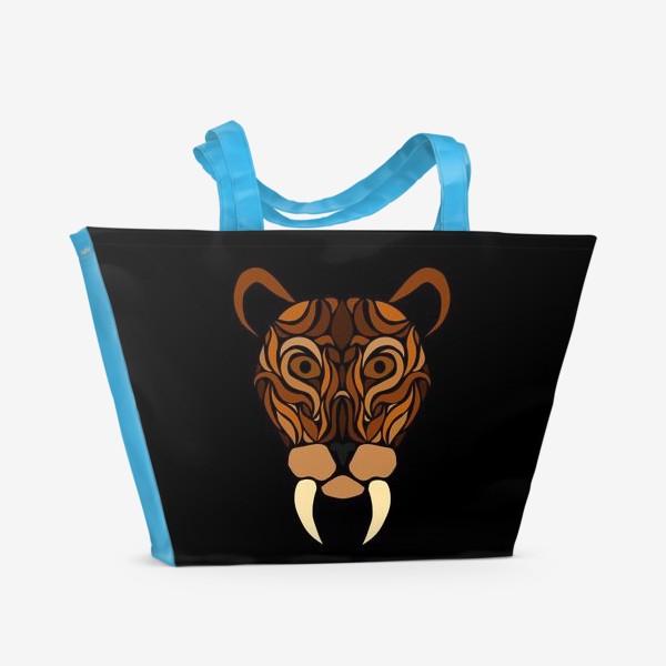 Пляжная сумка «Саблезубый на черном»