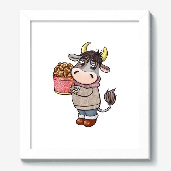 Картина «Бычок с печеньем. Символ 2021 года»